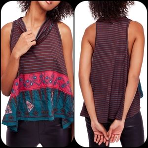 Free People north south embroidered Boho tank top